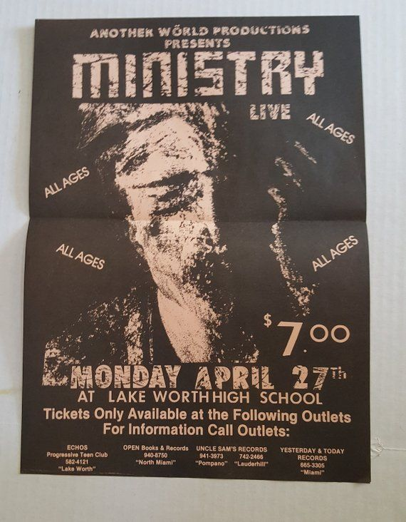 MINISTRY Poster 1987 Lake Worth High School Miami Beach Rare
