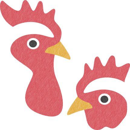 年賀状無料イラスト素材「鶏の顔(オス・メス)」