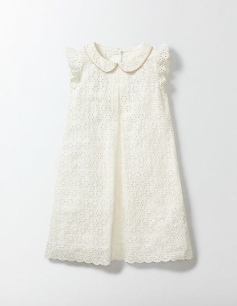 This sweet broderie dress has a smart Peter Pan collar and fluttery sleeves – and we've added a gold sparkle trim just to make sure it's party-ready. The floaty shape is super comfortable too (because, even at family gatherings, the adventure must go on).
