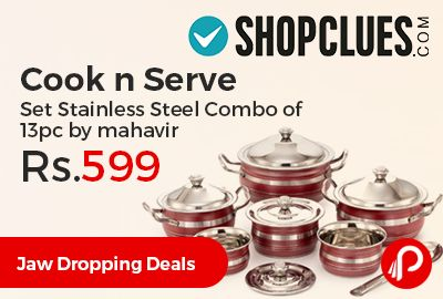 Shopclues #JawDroppingDeals is offering 76% off on Cook n Serve Set Stainless Steel Combo of 13pc by mahavir at Rs.599 Only. This 13 Pc Cookware set from Mahavir is a great addition to your kitchen. The attractive pieces can be used for both cooking and serving on your dinner table. This cookware combo consists of 3 units of Cookware with Handles.  http://www.paisebachaoindia.com/cook-n-serve-set-stainless-steel-combo-of-13pc-by-mahavir-at-rs-599-only-shopclues/