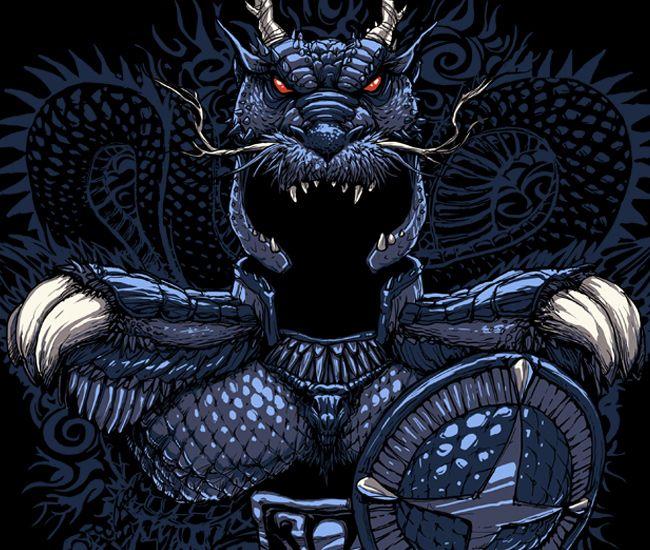 Imagem da ilustração por Rodrigo Gafa - Dragão Negro (Saint Seiya)
