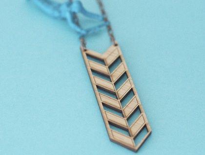 Heraldric Arrow, Geometric Lasercut Bamboo Necklace, with Chevron cutouts | SuperVery