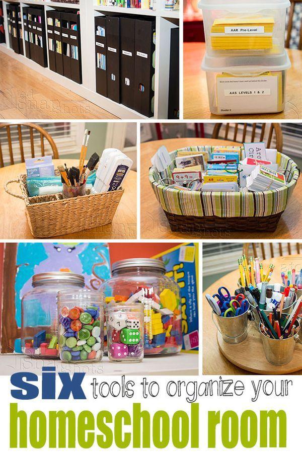 Six Tools to Organize Your Homeschool Room. Homeschool room ideas and a few great tools for homeschool room organization.