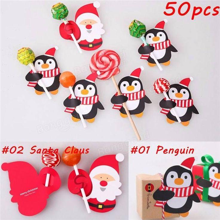 50pcs Babbo Natale pinguino lollipop carta di carta di caramella decorazioni di natale festa di Natale Vendita - Banggood.com