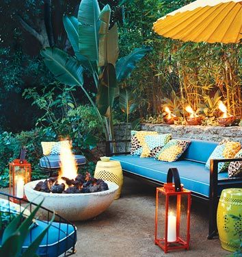 A tropical themed outdoor space that is party ready.