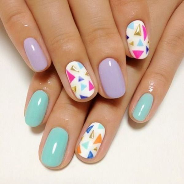 blue and purple nails with a multicolored triangle statement nail | click for 5 easy, cute, spring diy nails