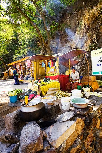 Food stall next to Ella Falls, Ella, Sri Lanka #SriLanka #Ella We walked here from Ella, highly recommended to check out the cooler hills while you are in Sri Lanka. For more information see World Travel Family blog.