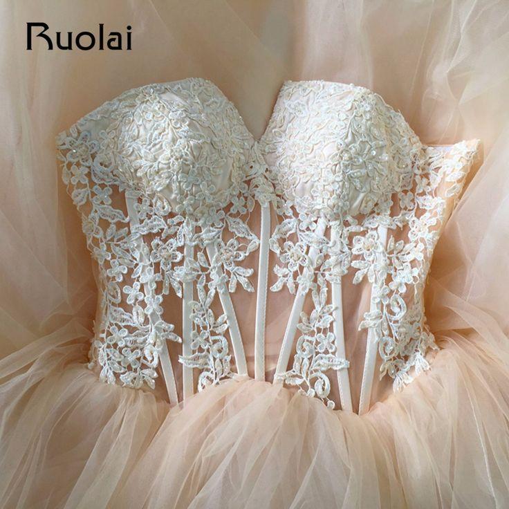 Cheap Champagne Wedding Dresses 2018 Ball Gown Lace Applique Beaded Tulle Bridal Gown Long Vestido de Novia Largo ASAW43