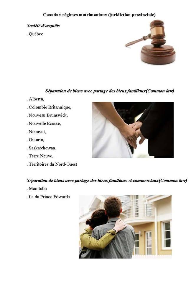Canada_les différents régimes matrimoniaux provinciaux