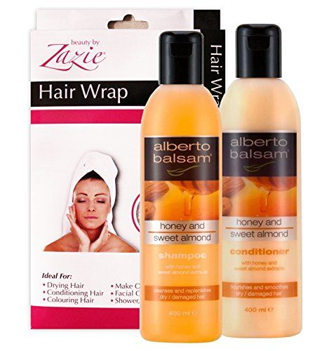 Alberto Balsam Honey and Sweet Almond Shampoo & Conditioner - 2 x 400ml Value Pack Plus 100% Cotton Zazie Hair Wrap. Now at http://www.amazon.co.uk/Alberto-Balsam-Almond-Shampoo-Conditioner/dp/B00R0DERG8/ref=sr_1_17?m=AWN6VFVMPYRT0&s=merchant-items&ie=UTF8&qid=1419586239&sr=1-17