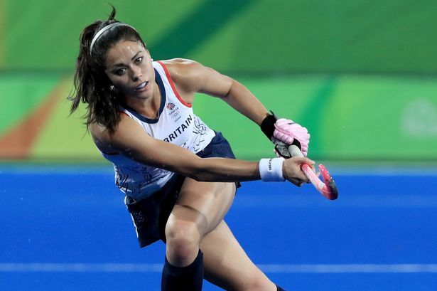 Sam Quek in action in theGreat Britain hockey team at the 2016 Rio Olympics