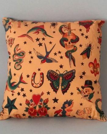 """Tattoos & Tea"" Scatter Cushion Side 1"
