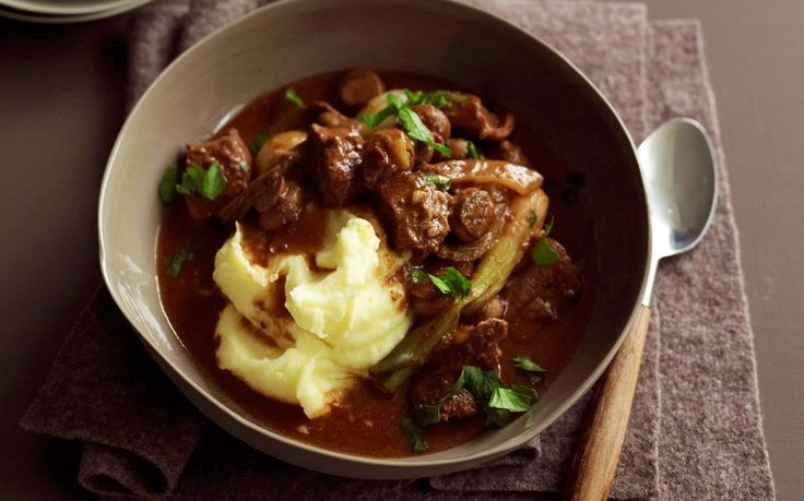 Slow-cooker beef, mushroom and red wine stew recipe - By Australian Women's Weekly, Warm, hearty and packed full of delicious ingredients, this beef and mushroom stew is slow-cooked in a fragrant red wine sauce to tender perfection.
