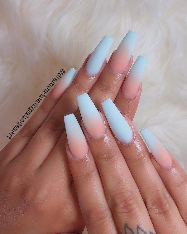 40 Fabulous Gradient Nail Art Designs Cuded Ombre Acrylic Nails Blue Ombre Nails Acrylic Nails Coffin Short