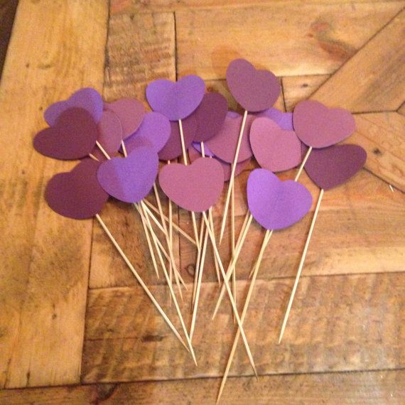 20 Assorted Purple Hearts on Sticks by JessieLouise22 on Etsy