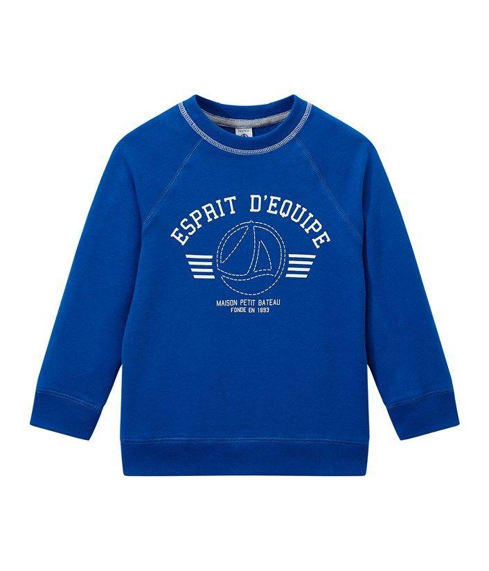 Sweat shirt garçon en molleton bleu Perse. Retrouvez notre gamme de vêtements et sous-vêtements pour bébé, enfant, mode femme et homme.