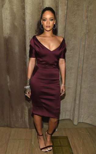 Rihanna supported friend Zac Posen in a midlength marsala-colored dress.  Source: Getty / Dimitrios Kambouris