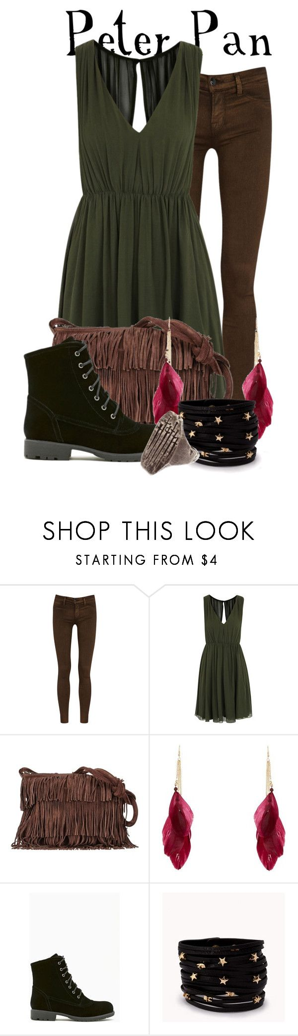 """""""Requested by Peter himself!"""" by totallytrue ❤ liked on Polyvore featuring J Brand, Alice + Olivia, Sequoia, Shoe Cult, Forever 21, disney, disneybound, neverland and ShowUsYourDisneySide"""