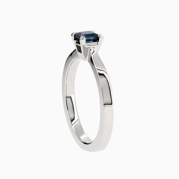 Princess solitaire ring with Blue sapphire in Platinum