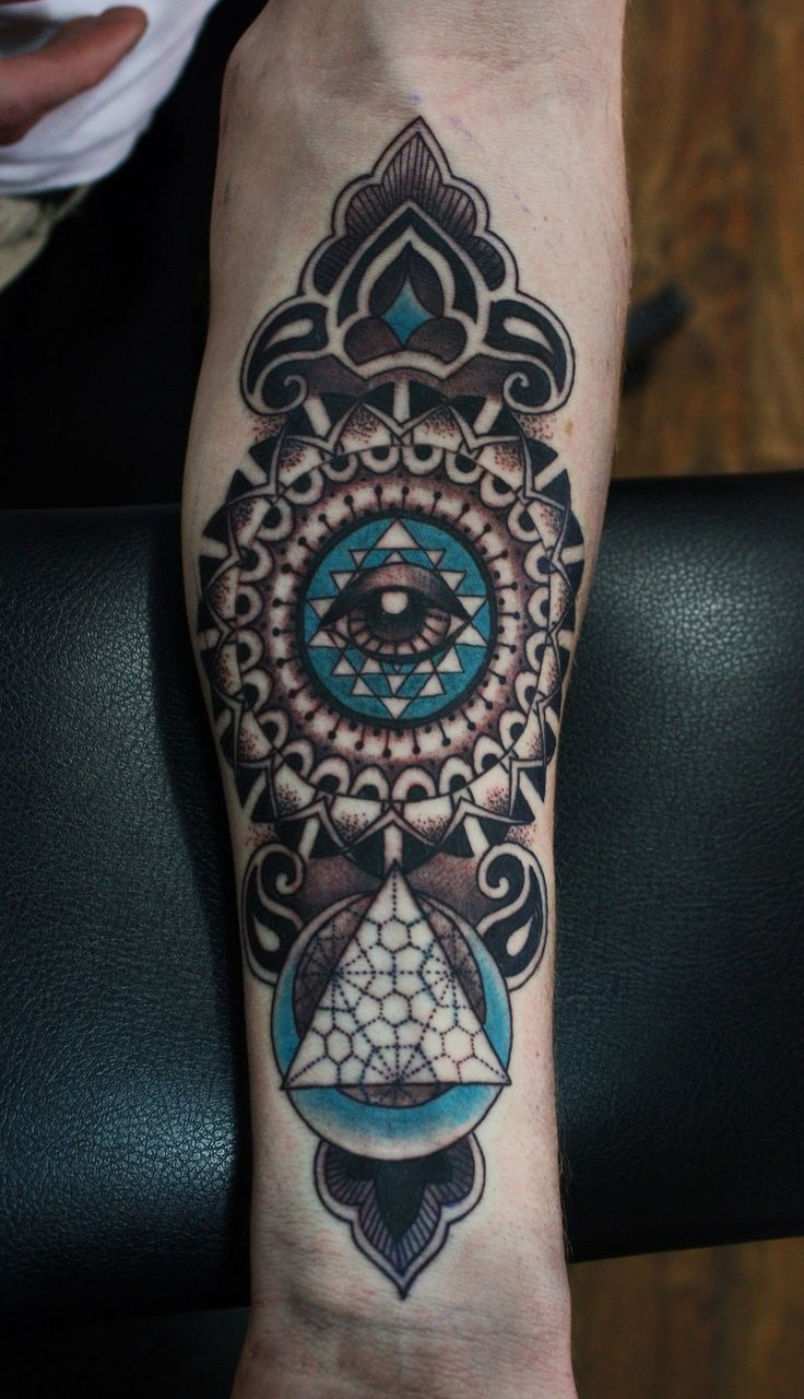 40 mysterious sacred geometry tattoo designs - He Wanted Something Mandala Sacred Geometry Inspired With An Eye Somewhere And This Is What Happened Thanks Tattoo By Jessica Mcdermott