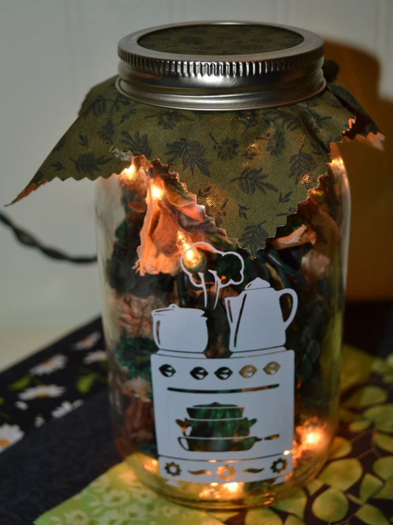 Mason Jar Potpourri Mini Lights Kitchen Stove by TheCraftyWhites, $12.00