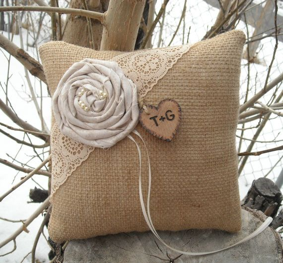Personalized Burlap Ring Bearer Pillow by MyMontanaHomestead, $18.00