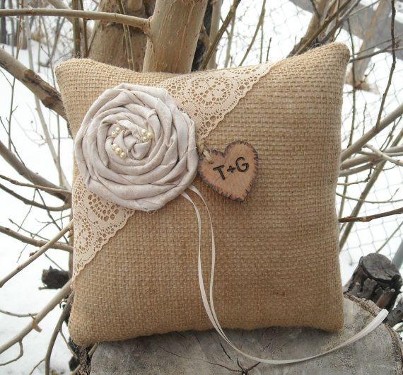 Personalized Burlap Ring Bearer Pillow Rustic Burlap and Lace Wedding Pillow