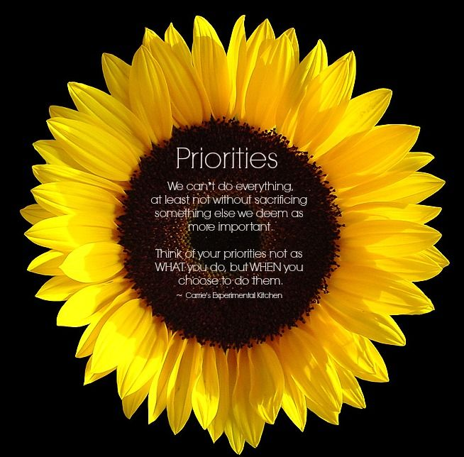 Priorities Quote  www.carriesexperimentalkitchen.com  #quotes