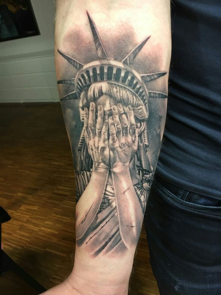 Crying Statue of liberty tattoo by John Maxx