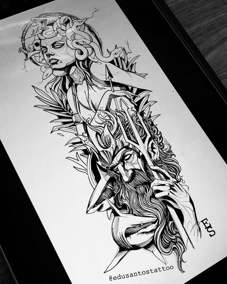 . Fechamento de braço  Medusa e Poseidon em Blackwork. . . Disponível para tatuar . . . ⚠️Gostou do trabalho? Quer um projeto Blackwork exclusivo ? Mande um direct ou entre em contato pelo link do Whatsapp que está na BIO.⚠️ . . #tattoo #tattooer #tatuagem #sharks #tatuagens #blackwork #poseidon  #medusatattoos #blackworktattoo #desenhando #desenho #desenhos #ilustracao #illustrator #tattoist #tattooartist #tattooart #edusantostattoo®