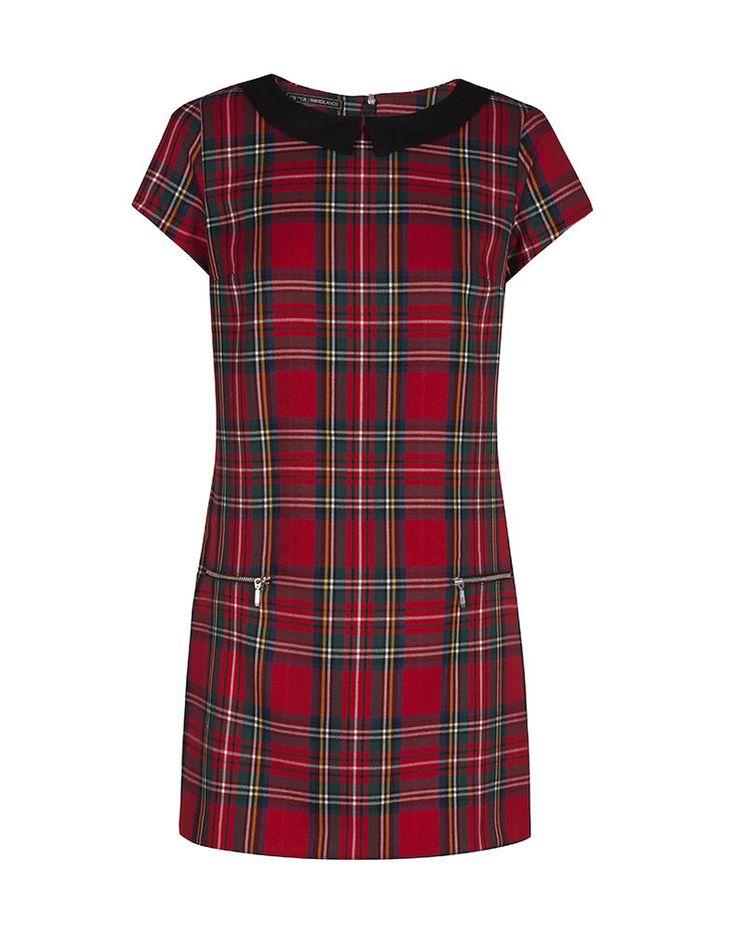 Vestido trapecio cuadros escoceses