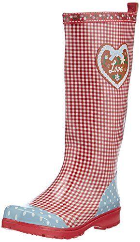 Playshoes Gummistiefel, Regenstiefel Landhaus, Oktoberfest, aus Naturkautschuk, Damen Langschaft Gummistiefel, Rot (rot 8), 38 Playshoes