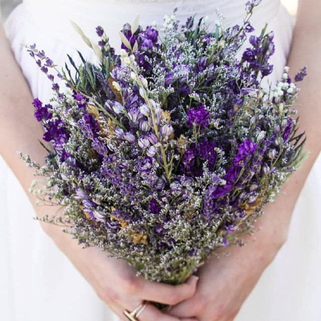 Melissa S Pretty Dried Lavender Larkspur Caspia And Thistle Bouquet Lavender Wedding Flowers Dried Flowers Wedding Lavender Wedding Bouquet