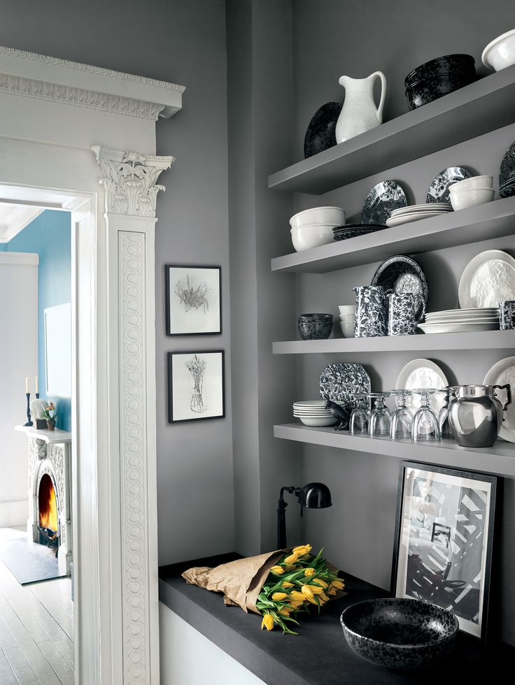 Gray Coat from Ralph Lauren Paint's Greenwich Village palette creates a  cool and calm backdrop in