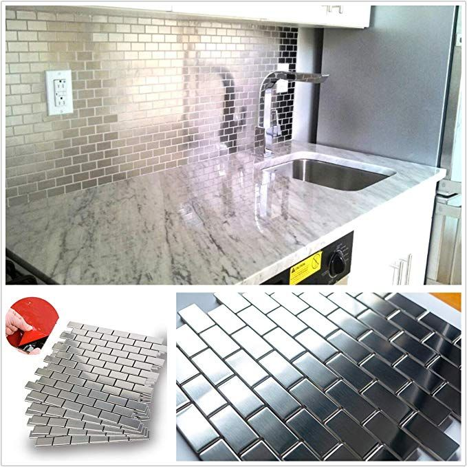 Amazon Com Homeystyle Subway Stainless Steel Peel And Stick Tile