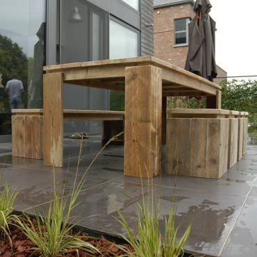 Tafel + bank + 4 krukken in gebruikt steigerhout | Sets | Outdoor | Meubelen | Rawcreations