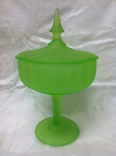 Vaseline Satin Glass Footed Candy Compote Dish  $17