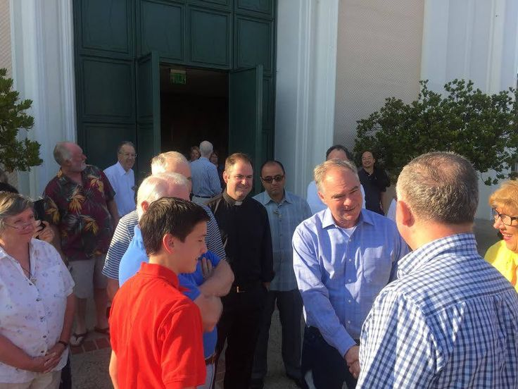 Summer, 2016: Early one Sunday morning in the heat of the 2016 presidential race, Virginia senator and vice presidential nominee Tim Kaine attended Mass at St. Paul the Apostle in Los Angeles.  Paulist Fr. Tom Gibbons is at center, outside St. Paul's after Mass.