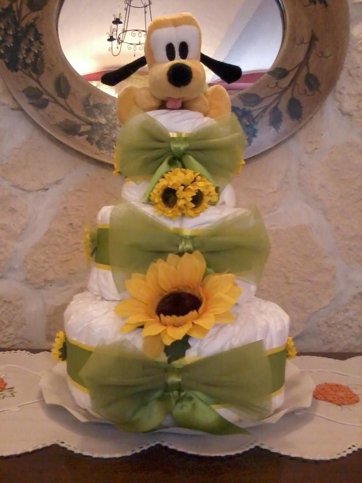 torta di pannolini con pluto