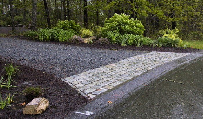 Gravel driveway with stone apron gardening outdoor for Cape cod stone and gravel