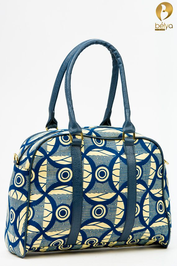 Bashiri's small to medium size handmade overnight bags made of synthetic leather, African wax prints and satin fabric.
