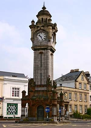 Miles Clock Tower at the Quadrangle, Exeter, England