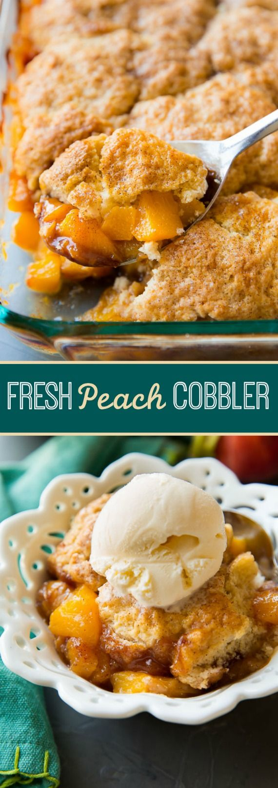 Perfectly sweetened and comforting with fresh peaches and a golden biscuit topping! Peach cobbler recipe on sallysbakingaddiction.com