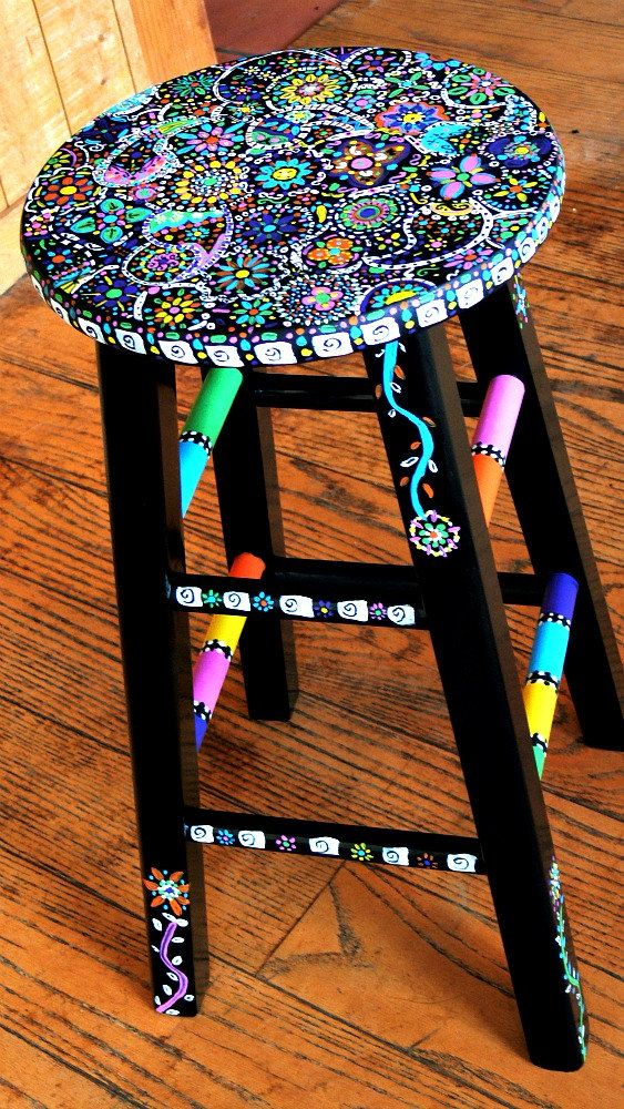 brightly painted stool