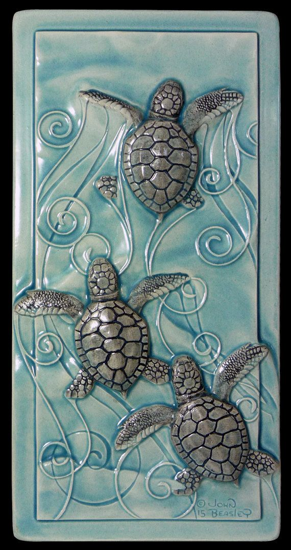 Home decor, art tile, ceramic tile, Magic in the Water, baby sea turtles, wall art