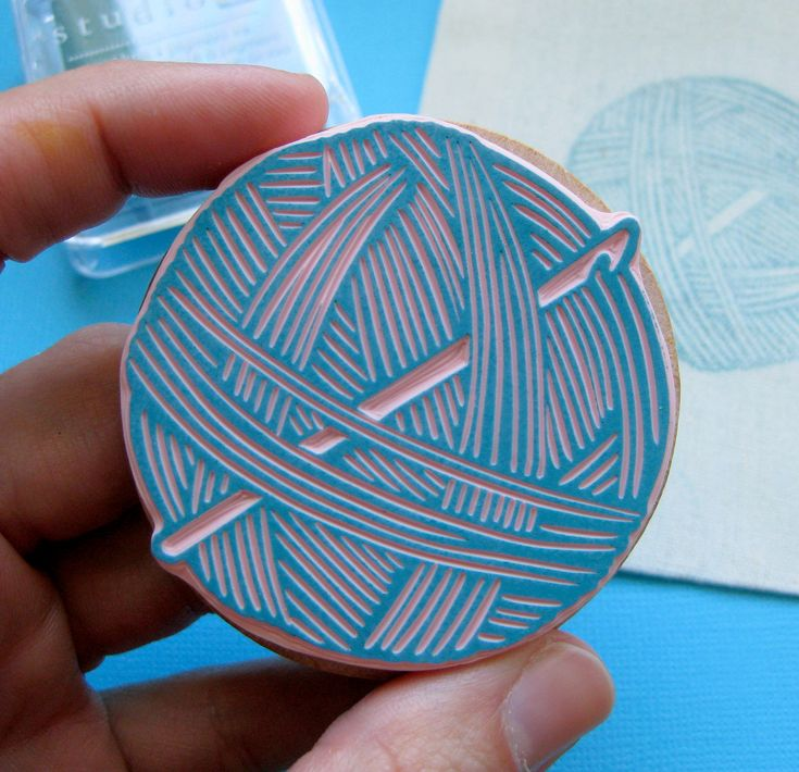 Large Ball of Yarn with Crochet Hook - Hand Carved Rubber Stamp.