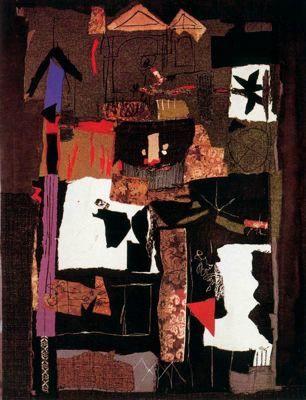 """Antoni Clavé Sanmartí (1813 - 2005). """"Guerrier, 1965"""". Tapisserie-assemblage. 212 x 162 cm. Colección J. Plaruque. París. Francia."""