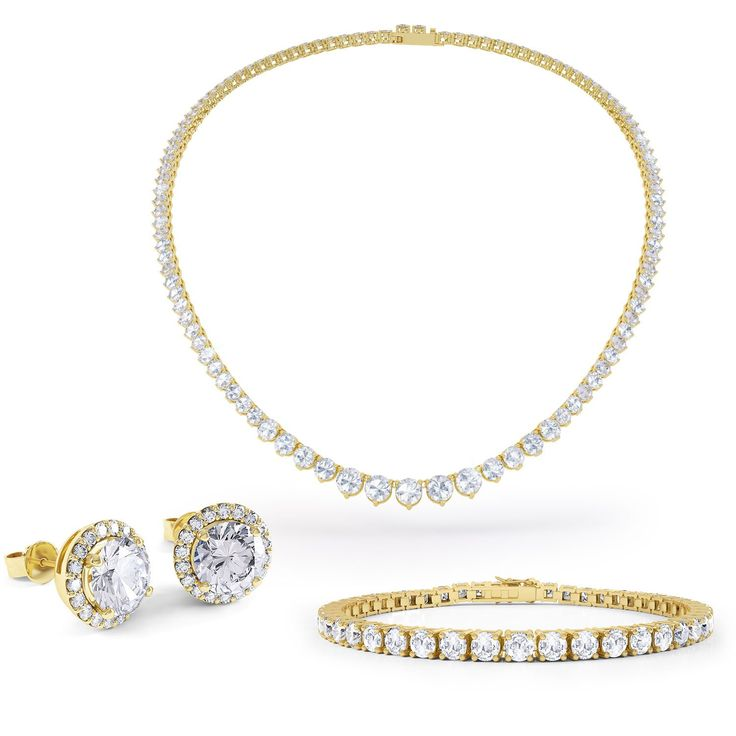 Eternity White Sapphire 18ct Gold Vermeil Jewellery Set with Necklace