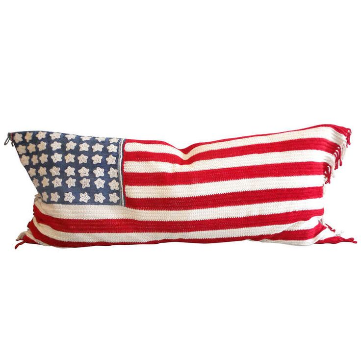 Large Hand Crochet 48 Star Flag with Blue Cotton Linen Backing | From a unique collection of antique and modern political and patriotic memorabilia at http://www.1stdibs.com/furniture/folk-art/memorabilia-political-patriotic/
