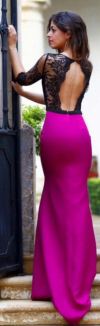 Black And Fuchsia Body-con Lace Detail Open Back Maxi Dress